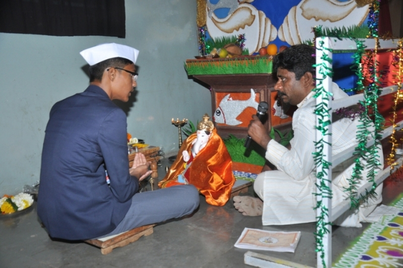 Ganesh Festival  :  Installation of Lord Ganesha's Idol  by School Captain Onkar Bhopale.