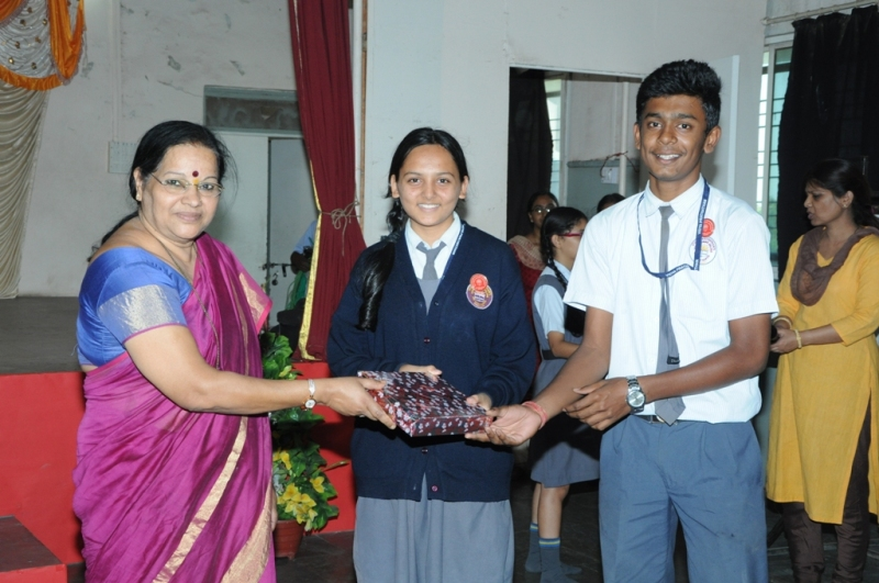 Ganesh Festival :  Shivneri House Captains receiving the First Prize for Group Singing.