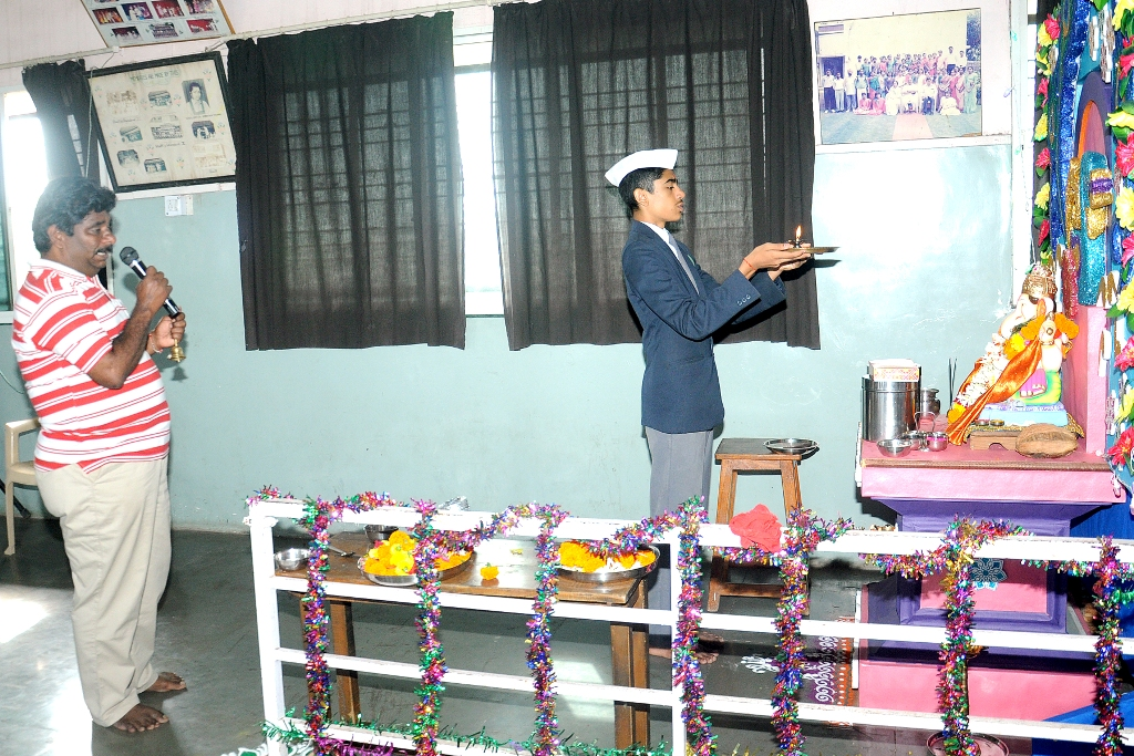 Ganesh Festival : School Captain Performing Pooja.
