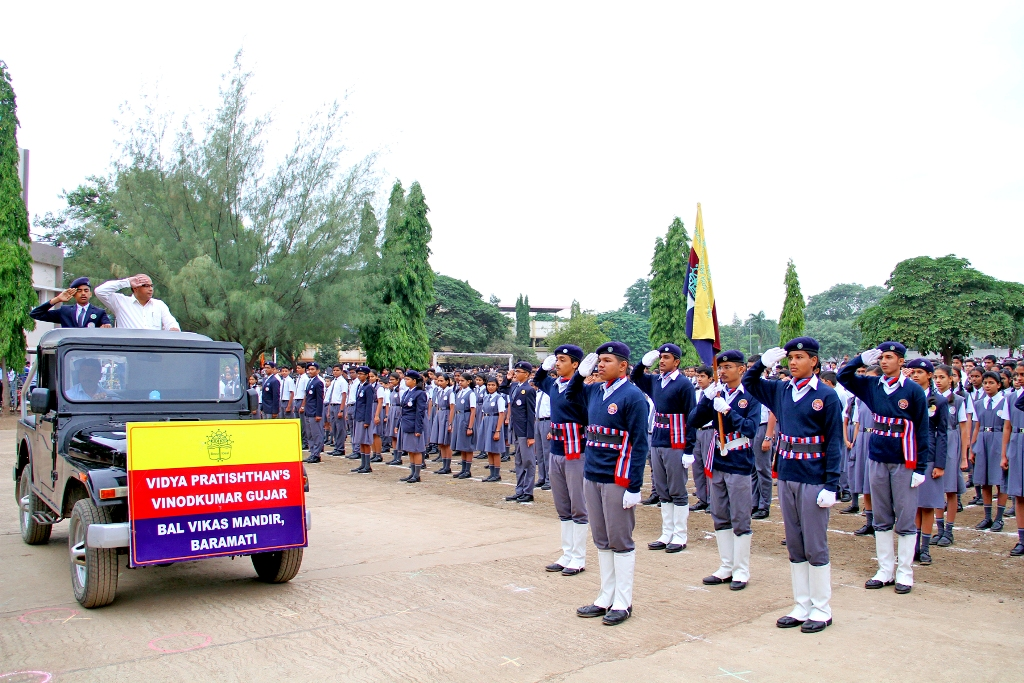 Independence Day Celebration : Inspection of the parade by the Chief Guest Mr. Niketan Unde.