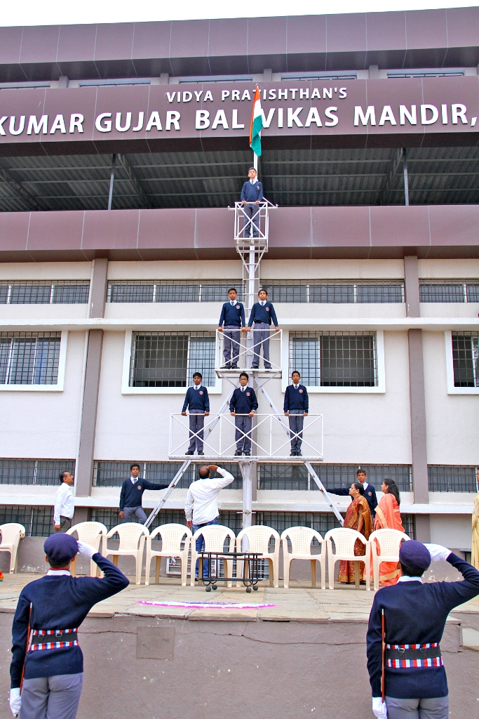 Independence Day Celebration : Chief Guest Mr. Niketan Unde hoisting the National Flag.